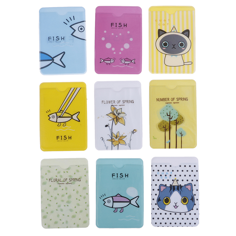 Hot 3pcs/set Small Cute Transparent PVC ID Card Holder Case Waterproof Cartoon Credit Card Cover Badge Bag Random