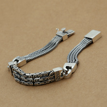 Wholesale 925 sterling silver jewelry manufacturers are retro fashion men's silver bracelet rope socket