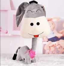 New Hot Big Size 60cm/80cm Lovely Donkey With Long Neck Baby Soft Stuffed & Plush Animal Doll Kids Toy Children Birthday Gifts
