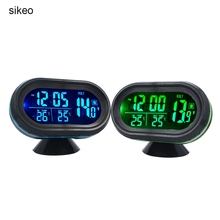 sikeo Automobile Clock Digital Car Thermometer Car Battery Voltmeter Voltage Meter Tester Monitor Noctilucou Clock 12/24V(China)