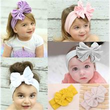 5 Inch Big Bow Cotton Turban Headband For Girl Kids Stretch Hair Band Head Wrap Hair Accessories(China)