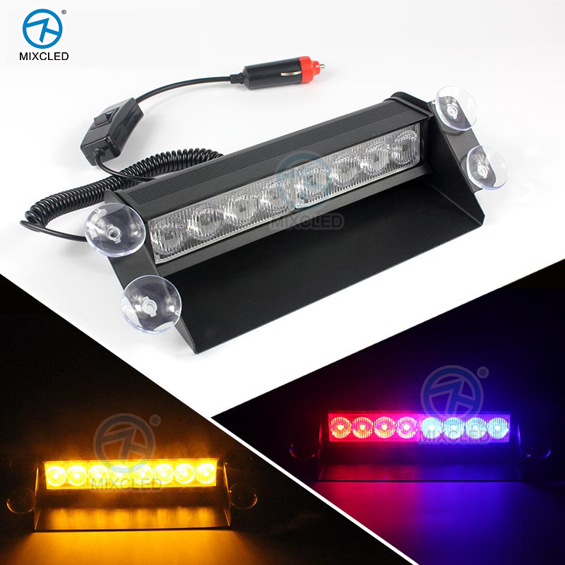 1Pcs 8W LED Red/Blue Car Police Strobe Flash Light Dash windowshield Emergency  Flashing Light<br><br>Aliexpress
