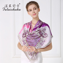 Fashion Printed Women Genuine Silk Scarves 100% Mulberry Silk Large Size Square Scarf Shawls White-Collar OL Neckerchief F536