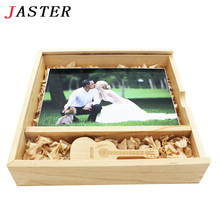 JASTER wooden Photo Album gift box usb flash drive guitar Pendrive 8GB 16GB Photography wedding gifts LOGO customer 170*170*35mm