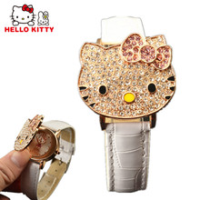 Hello Kitty Watch Baby Clamshell Dial Crystal Kids Watches Cartoon Children's Watches For Girls Clock saat reloj montre relogio(China)