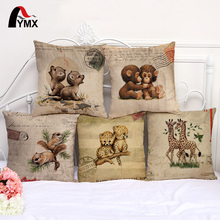 Koala Giraffe Cotton and Linen Cushion Cover Cute Animal Pillow Case For Sofa Seat Home Decorative Pillowcases cojines(China)