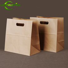 25pcs 80g 290x280x150mm Portable Kraft Paper Takeout Food Bags Large Paper Gift Bags Fruits Bread Baking Bags Vegetable Bag