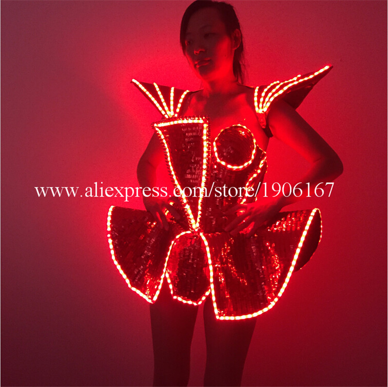 LED Lady Sexy Clothing Luminous Flashing Women Dress Costumes Suits Party Dance Accessories Event Party Supplies7