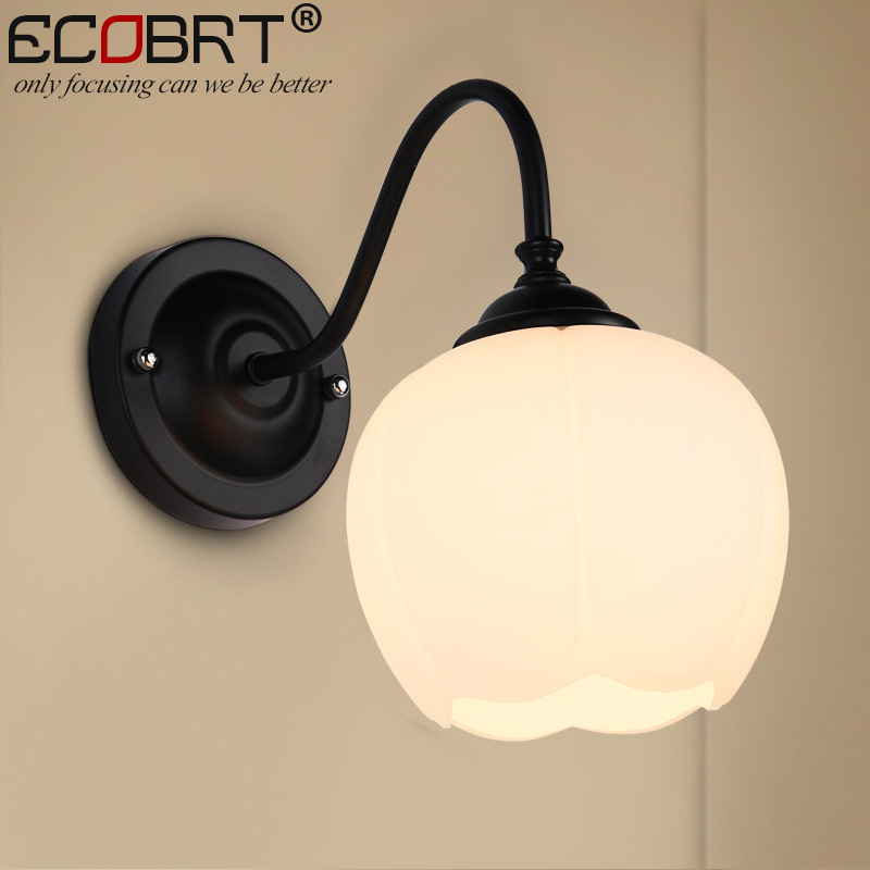 ECOBRT Vintage Glass Ball Wall Lamps Bedroom kitchen Mirror Light Luminaria Lamparas Brief Dining Restaurant Wall Sconces
