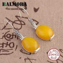 BALMORA Yellow Chalcedony Earrings 925 Sterling Silver Drop Earrings for Women Lover Gift Female Elegant Jewelry Aretes MN30773