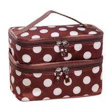 Low Price Double Layer Cosmetic Bag Makeup Bag Cosmetic bag Makeup Dot Zip Bag Hanging Toiletry Travel Wash Organizer handbag