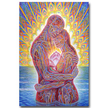 NICOLESHENTING Alex Grey Psychedelic Trippy Art Silk Fabric Poster Huge Print Ocean Love Bliss Abstract Pictures Wall(China)