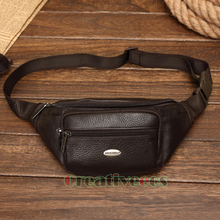 2017 New Men Genuine Leather Cowhide Vintage Travel Cell/Mobile Sling Chest Belt Pouch Fanny Pack Waist Bag Purse