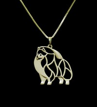 Gold & silver 1pcs Pomeranian Necklace Cut Out Dainty Pendant Puppy Dog Lover Memorial Pet Necklaces Pendants Women Charms(China)