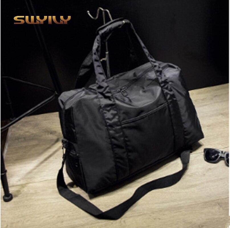 Nylon Waterproof Women Hand Gym Bag Folded 36-55L Big Capacity Sports Bag Solid Color Men