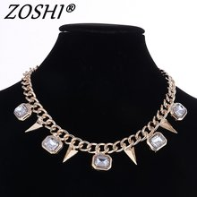 Fashion Colar Geometric Necklaces & Pendants Gold Color Women Necklace with Clear Crystal Punk Spike Suspension New Jewellery(China)
