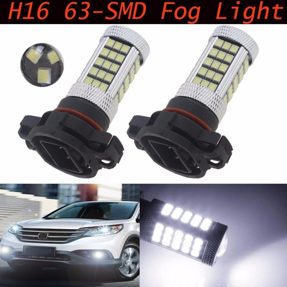 2X H16/5202 63-SMD 2835 Chip LED Projector Lens Fog DRL Driving Bulb 30W bright than 33 SMD Light White Ice Blue Red<br><br>Aliexpress