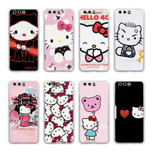lovely Hello Kitty design transparent clear hard case cover for Huawei P10 P9 Plus P8 P9 lite Mate S 9 8