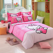 Fashion Luxury 3D Cotton Print Bedding sets Duvet Cover Bed sheet Twin Queen Pink Pink Hello Kitty