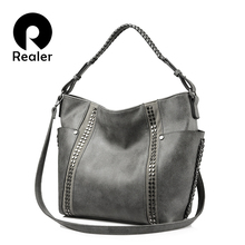 REALER brand fashion women shoulder bag female casual tote bag ladies handbag large capacity with Rivet and Ruched Brown/Gray(China)