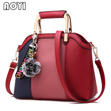 AOYI Women Handbag Luxury Lady PU Leather Shoulder Bag Patchwork Hit Color Crossbody Bag Messenger Bags Stylish Top Handle Bags(China)