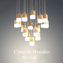 Nordic Creative Acrylic Wood Lamp,Modern Meteor Shower Led Pendant Lights dining room bar Pendant lamp for Hanging Lamp Deco