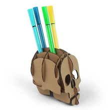 DIY Cool Halloween Decoration Skull Pen Holder for Desk 3d Puzzle Toy Kids Men Women Creative Gifts Punk Pencil Holder Organizer
