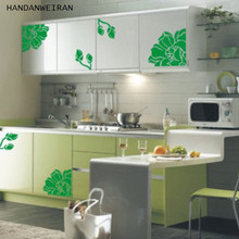 1PCS PVC Elegant Magnolia Floral Refrigerator Sticker Home Decor Sticker Cabinet Stickers