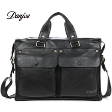 DANJUE Men Genuine Leather Briefcase Businessman HandBags Brand Cowhide 14 inch Laptop travel High Quality Shoulder Bag New(China)