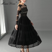 Buy MoaaYina Fashion High Sexy Dress Spring Women Long sleeve Mesh Lace Holiday Party Elegant Ball Gown Retro Dress for $64.59 in AliExpress store