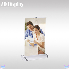 Wholesale 50PCS A4 Size Mini Desktop Aluminum Single Side Roll Up Banner Stand,Exhibition Display Tabletop Roller Banner(China)
