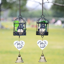 Free shipping Iron bird cage cartoon cat wind chimes creative home pendant new peculiar birthday party gift(China)