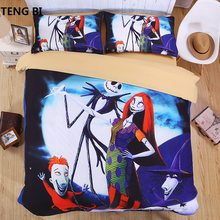 The Nightmare Before Christmas Eve 3D Bedding Set Print Duvet cover set Twin queen king lifelike bed sheet linen#2(China)
