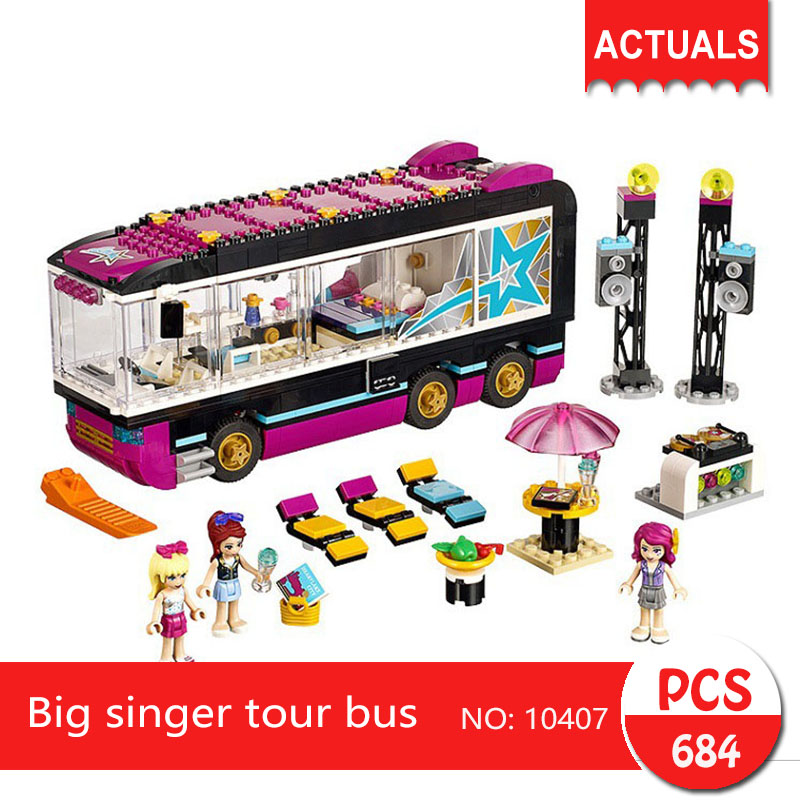 bela 10407 684Pcs Friends series Big singer tour bus  Building Blocks   Bricks Toys For Children  Gift<br>