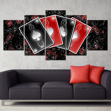 Painting Abstract Art Wall Modular Pictures Living Room Framed 5 Panel Playing Cards Home Decor Canvas HD Printed Poster PENGDA(China)