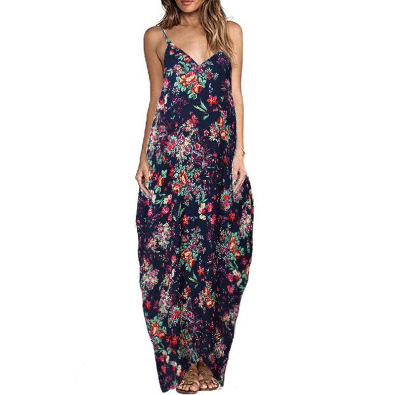 Print Floral Loose Boho Bohemian Beach Dress Women Sexy Strap V-Neck Retro Vintage Long Maxi Dress Summer 2017 Plus Size 3XL 16