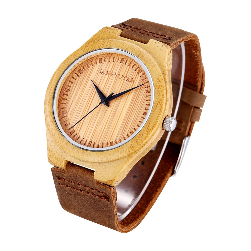 2017 Popular New Design Bamboo Wooden Quartz Movement Genuine Leather Strap Watches<br>