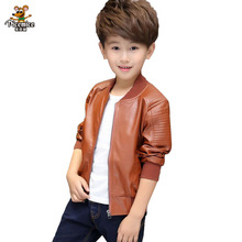 Children PU Leather Jacket Boys Spring Autumn Faux Leather Coat Boy Girls Spring Jacket Children Solid Casual Outerwear 3T-14T(China)