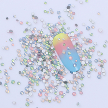 Multi-size Opal Rhinestone 3D Nail Decoration Colorful Flat Bottom Non HotFix Stud 1g Charms Manicure Nail Art Decoration