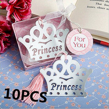 10PCS Exquisite Princess Crown Bookmarks For Kids Baby Shower Souvenirs Birthday Wedding Favors Birthday Graduation Gifts(China)