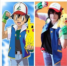 Free Shipping Pokemon Ash Ketchum Trainer Costume Cosplay Jacket + Gloves + Hat + ball Ash Ketchum Costume xs-3xl