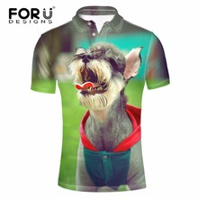 FORUDESIGNS Men's Summer Short Sleeve Elastic Casual Polo Shirt Cute Schnauzer Dog Printed Shirt for Man Tommis Camisa Masculina