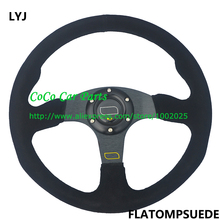 LYJ-OM Universal Suede Leather Flat Steering Wheel 350mm Racing Car Steering Wheel Black Color