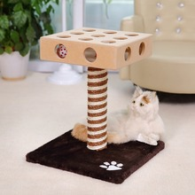 Domestic Delivery Cat Toy Scratching Wood Bell Ball Toy Cat Jumping Toy Climbing Frame Cat Furniture Scratching Post