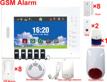 Digital touch screen quad bands 850/900/1800/1900Mhz wireless Gsm alarm system with Andriod/IOS APP