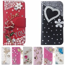 Card Slots Case For Huawei Honor 6A, Bling Crystal Diamond Leather Wallet Stand Flip Case Cover(China)