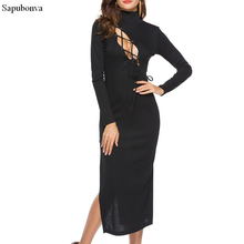 Sapubonva new autumn and winter sexy long dress soft feminine with long collar female turtleneck side cut out dresses bandage(China)