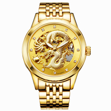 Luxury Mens Dragon Carved Automatic Mechanical Skeleton Watch Gold Jewelry Stainless Steel Wristwatch Leather relogio masculino