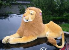 19 inch simulation lion plush toy lying brown lion doll gift w5412