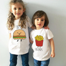 MAGGIE'S WALKER Kids T-shirts Best Friend Siblings Matching Clothes Funny Children Boys Girls Printed T Shirts Brothers Sisters